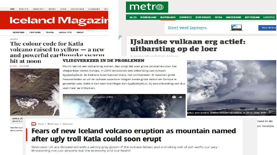 Schokgolf Katla eruptie krant