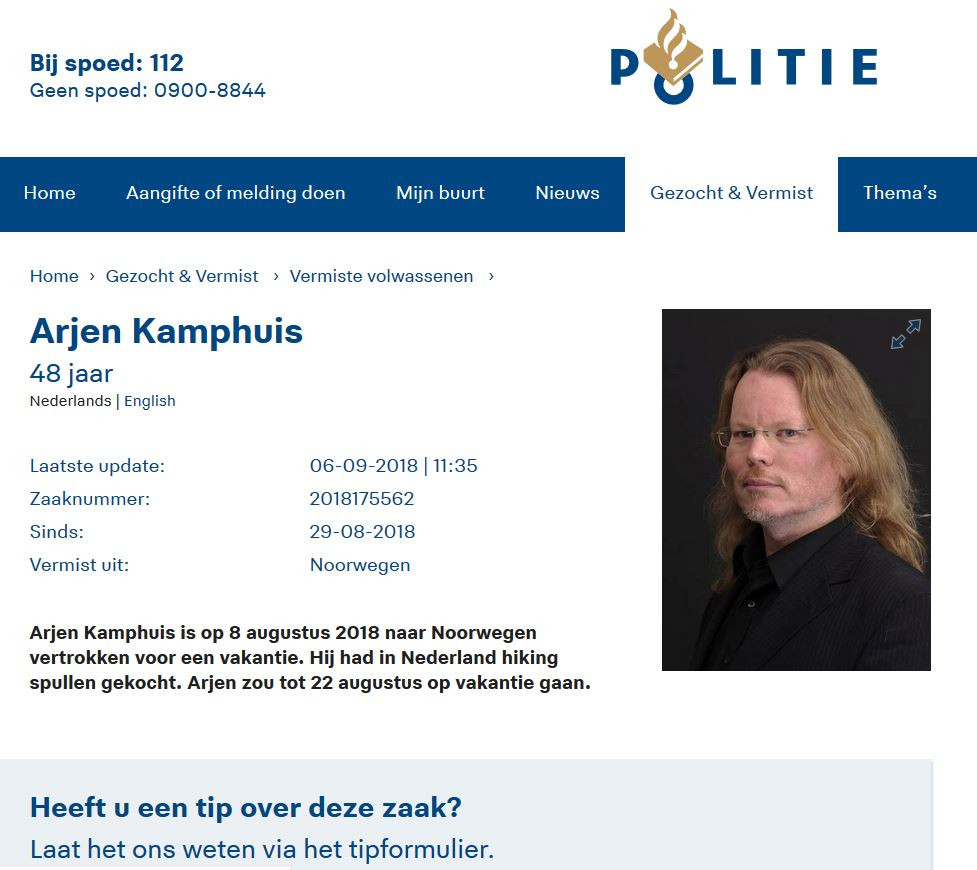 opsporingsbericht Arjen Kamphuis